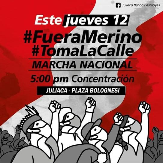 Poster used to call for the November 12 march in Puno.