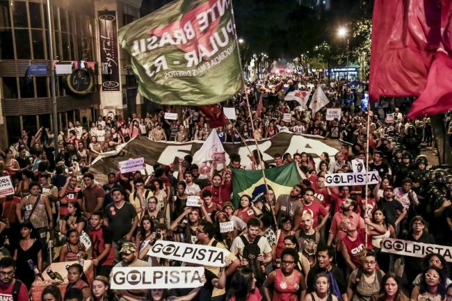 Protesters take to the streets in Brazil to denounce the 2016 impeachment of Dilma Rousseff. (Photo by Mídia Ninja