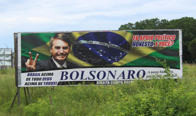 A Bolsonaro campaign ad on a highway in the northeast state of Piauí (Almanaque Lusofonista/Wikimedia Commons)