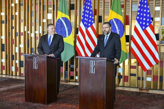 U.S. Secretary of State Pompeo and Brazilian Foreign Minister Araújo (Photo by U.S. State Department)
