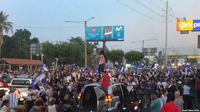 Protestors in Managua, Nicaragua on April 24, 2018. (Wikimedia Commons/Voice of America)