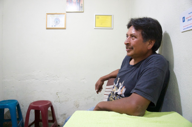 Felix Cabrera in the headquarters of Radio Concepción (Photo by Jared Olson)