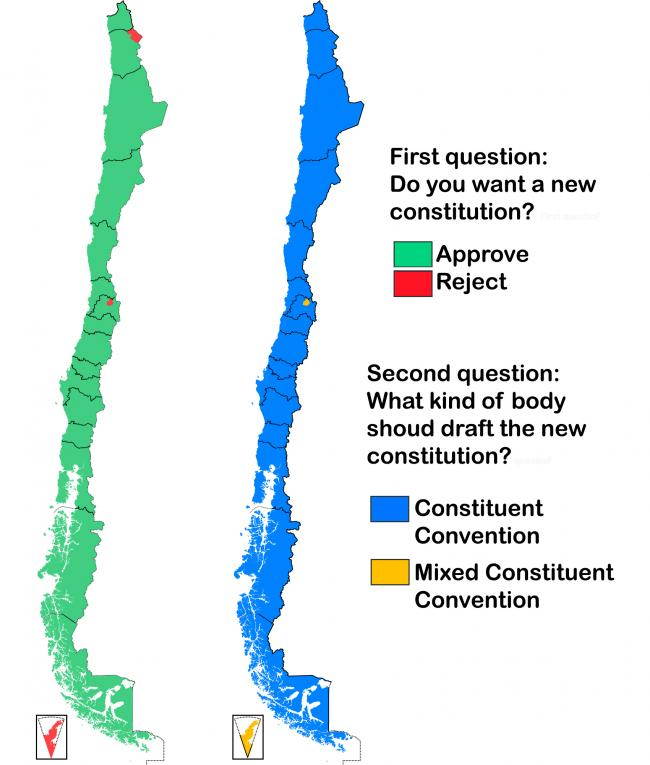Results of the first and second question of the plebiscite. (NACLA / B1mbo / Wikimedia)