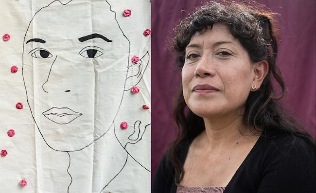 Retrato bordado de Lesvy Berlín Rivera Osorio junto al retrato de su madre Araceli Osorio. (María Ruiz)