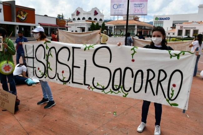 Manifestación #SOSElSocorro (Foto cortesía Federación Guatemalteca de Escuelas Radiofónicas FGER)