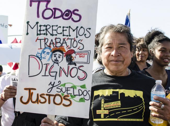 An immigration reform demonstration in Oakland, California, in May 2014. (Annette Bernhardt/Creative Commons)