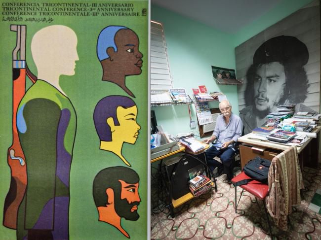 Izquierda: Afiche de OSPAAAL, 1969, por Alfredo Rostgaard | Derecha: Santiago Rony Feliú Miranda, director de la Revista Tricontinental, en su oficina (junio de 2019). (Foto por Fernando Camacho Padilla)