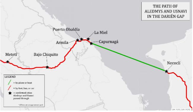 The path of Cuban asylum seekers Aledmys and Usnavi in the Darién Gap (Jaime Scott)