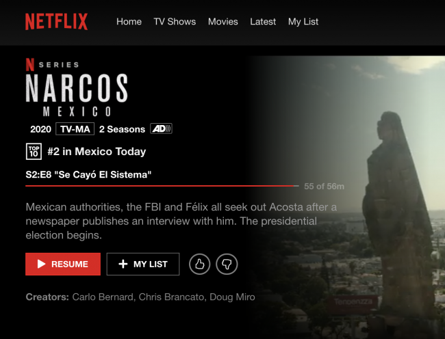 Screenshot from Netflix