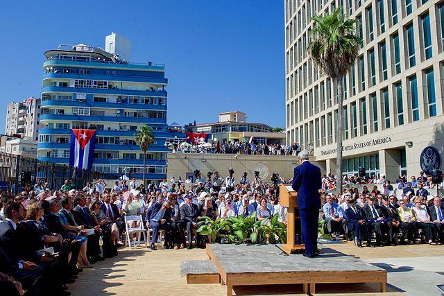 Former U.S. Secretary of State John Kerry at the opening of the U.S. Embassy in Havana, Cuba, on August 14, 2015. (U.S. State Department)