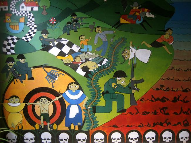 Un mural del masacre sobre el Río Sumpul, en Arcatao, Chalatenango. (University of Washington Center for Human Rights)