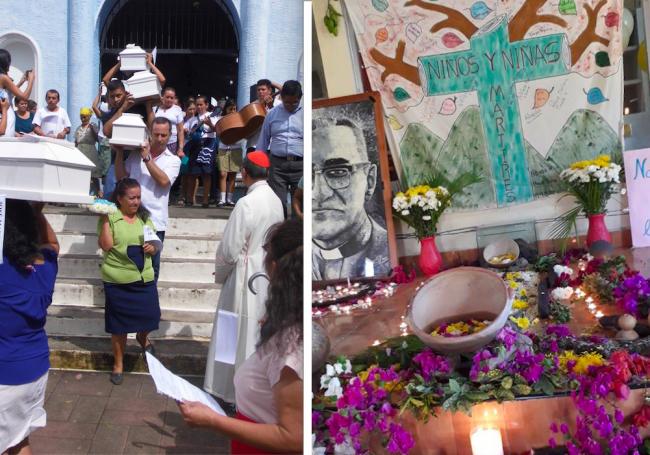 Izquierda: Una vigilia en Arcatao en 2017 con el cardinal Gregorio Rosa Chávez (Rosa Rivera Rivera). Derecha: Un altar a los niños inocentes (Comité de Memoria Histórica de Sobrevivientes de Arcatao, Chalatenango)