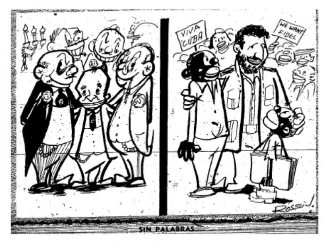 From Verde Olivo 1, no. 29(October 1, 1960). A cartoon depicting Fidel Castro meeting with African Americans in Harlem.