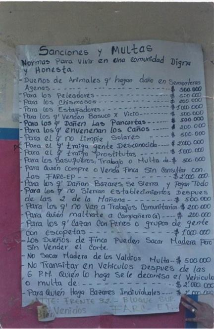 Rules and regulations under the FARC's 32nd Front of the Southern Block, 1999 (Photo by Winifred Tate)