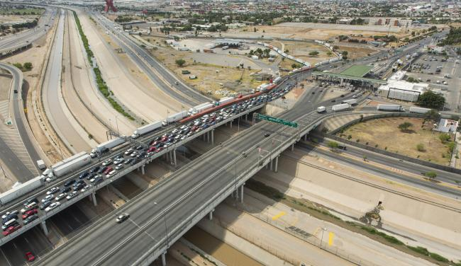 "A 2016 ""border bottleneck"" at the Bridge of the Americas joining El Paso and Juárez. (U.S. Customs and Border Protection/ Wikimedia Commons)"