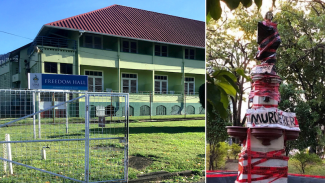"""Left: Freedom Hall at UWI, St. Augustine Campus. (Gelien Matthews) 