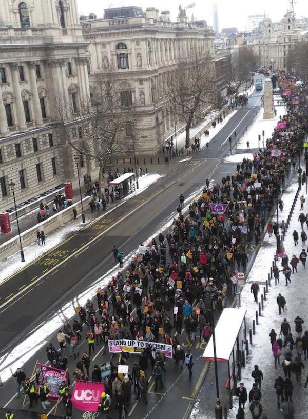 University College Union (UCU) members, who face pension cuts of $275,000 USD, march in London. (Photo courtesy of Angus McNelly and Jeffery R. Webber)