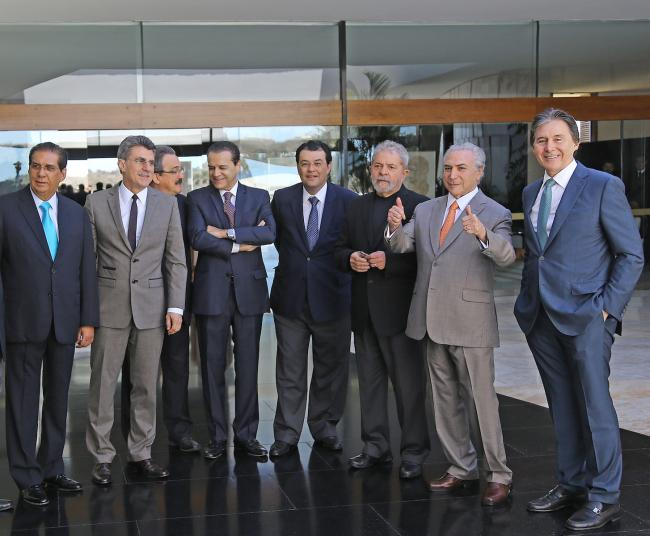 Lula (third from right) in a meeting with then-Vice President Michel Temer (second from right) and members of the cabinet (Instituto Lula)