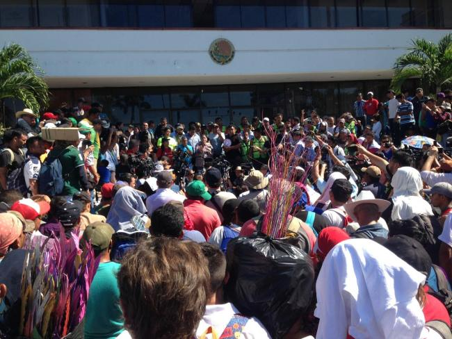Migrants at a press conference in Tapachula on the morning of Monday October 22 (Photo by Rafael Sanchez Rodríguez)