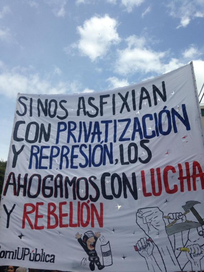 """If they suffocate us with privatization and repression, we will drown them with struggle and rebellion"" (Photo by Forrest Hylton)"