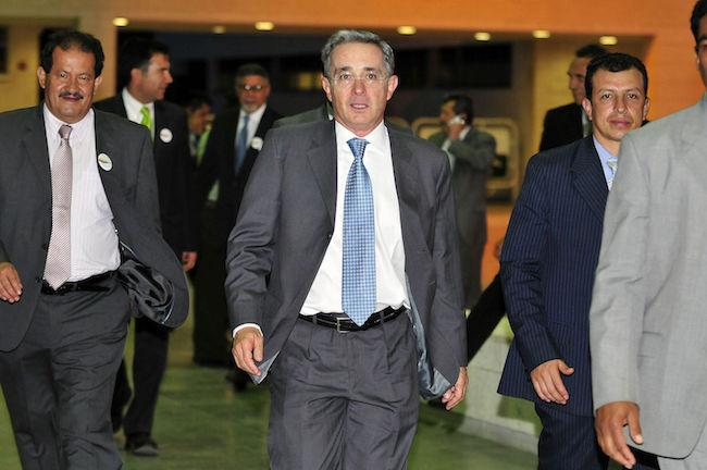Colombia's former president Álvaro Uribe at a public meeting in Cali in 2010 (Wikimedia Commons/Neil Palmer)