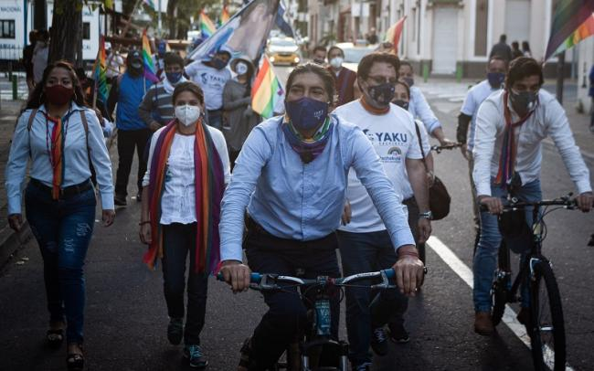 Yaku Pérez of the Pachakutik Movement for Plurinational Unity traveled by bicycle through Ecuador as a candidate. (Vincent Ricci)