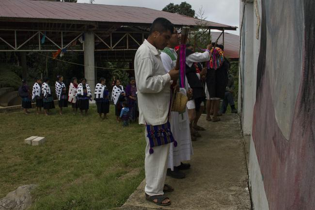 People participate in a ceremony in Acteal in October 2020 to commemorate the 1997 massacre. (Photo by Changiz M. Varzi)