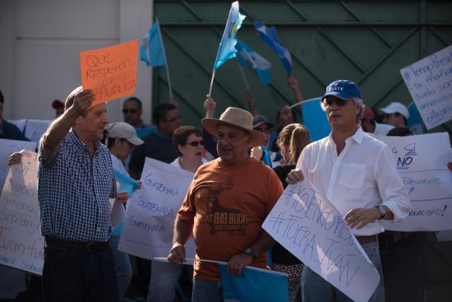 Counter-protesters rally against Iván Velásquez in Guatemala City last week (Santiago Billy/Comvite)