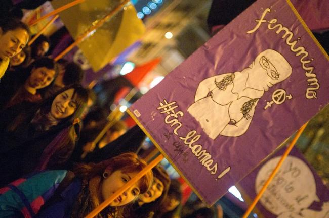 A march in favor of legal access to abortion in Santiago de Chile in 2014. (Joaquín Hernández)