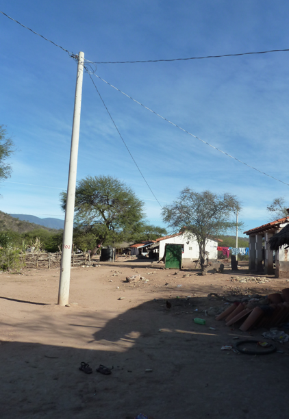 A departmental electrification project in construction in a Guaraní community of TCO Itika Guasu, June 2014. Community members complained the project had arrived 4 months late due to APG IG demands for prior consultation. (Photo by Penelope Anthias)
