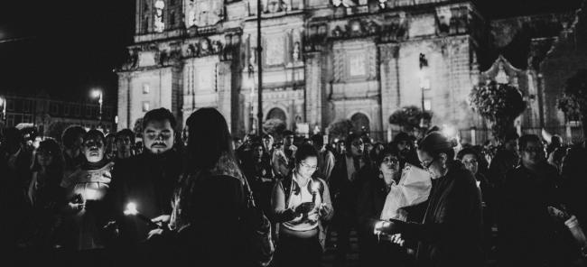 A protest in Mexico City's Zócalo shortly after the disappearance of the 43 students two years ago. (Photo: Ayotzinapatimeline.org)