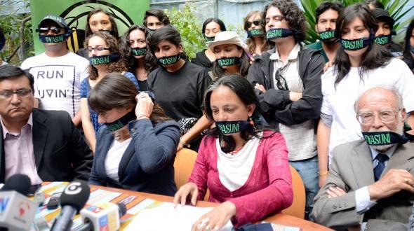 An Acción Ecológica press conference against drilling in the Yasuní region (Asociación Andaluza por la solidariad y la paz)