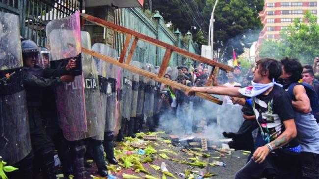 Demonstrations against the TSE ruling in La Paz, Bolivia in early December (Sara Aliaga/Pagina Siete).