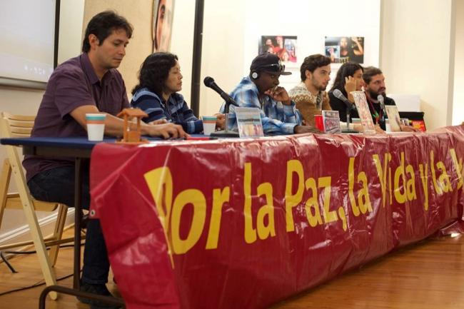 The Caravan for Peace, Life and Justice at a panel in Washington, DC (Photo by members of Caravana por la paz, la vida, y la justicia)