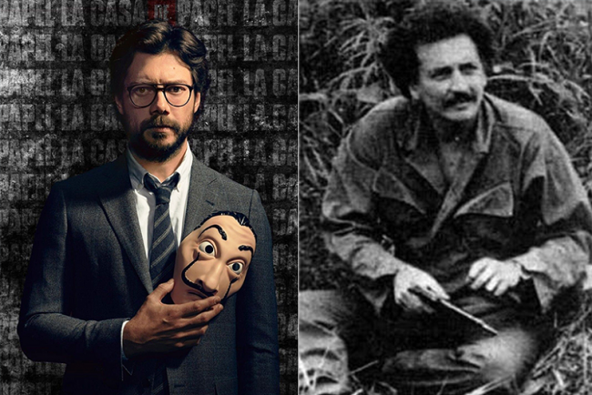 Izquierdo: El Profesor (Netflix / Casa de Papel) / Derecho: Jaime Bateman (Wikimedia / Luis Angel Arango Library)