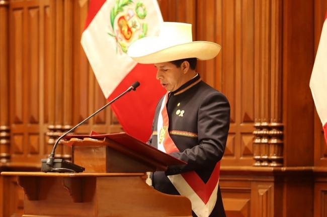 Pedro Castillo toma protesta como presidente de Perú, 27 de julio, 2021. (Pedro Castillo, Twitter)