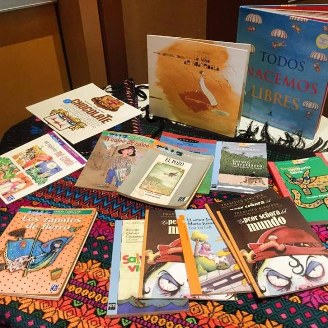 A selection of Spanish-language children's books collected by REFORMA's Children in Crisis Task Force (REFORMA/Facebook)