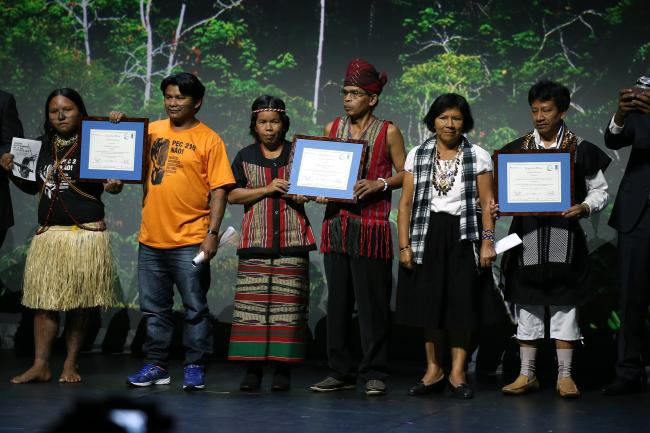 Winners of the Equator Award at the COP21 conference (Burness PR)