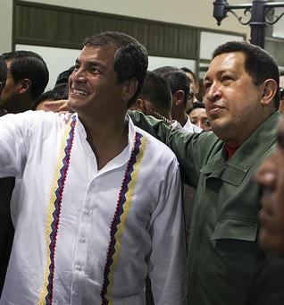 Presidents Rafael Correa of Ecuador and the late Hugo Chávez of Venezuela (Cancillería del Ecuador/Creatve Commons)