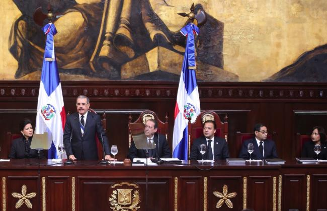 President incumbent Danilo Medina of the Dominican Liberation Party (PLD) addresses the national assembly