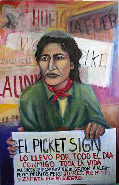 """El Picket Sign"" painted by Malaquías Montoya in 2009."