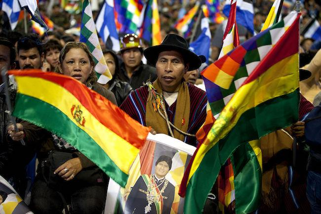 Indigenous groups at a rally for President Evo Morales in Cochabamba in 2013. (Wikimedia Commons/Fernanda LeMarie)