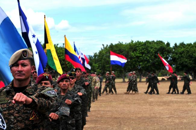 Teams from 17 nations during the opening ceremony of the Fuerzas Comando 2014 competition in Fort Tolemaida, Colombia (Photo from Defense Imagery Management Operations Center)