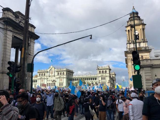 Guatemalans gathered in Plaza de la Constitución in downtown Guatemala City, which has been renamed by feminist collectives as Plaza de las Niñas in memory of the 41 girls who died inside a state-ran orphanage in 2017 (Vaclav Masek)
