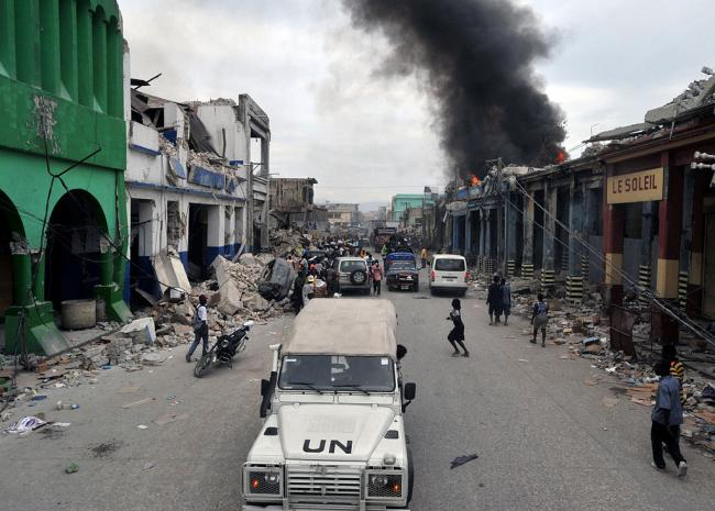 In the wake of Haiti's 2010 earthquake, UN forces took to patrolling the streets in Port-au-Prince (Marcello Casal / Wikimedia Commons).