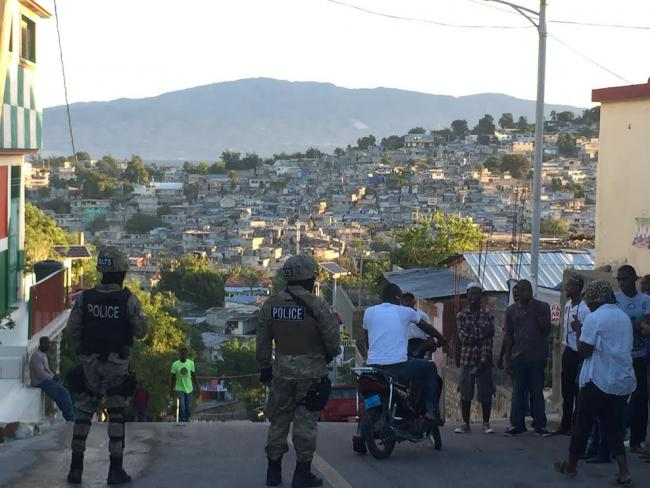 Members of Haiti's Anti-Narcotics Brigade Oversee Voters in Port-au-Prince (Photo by Jake Johnston)