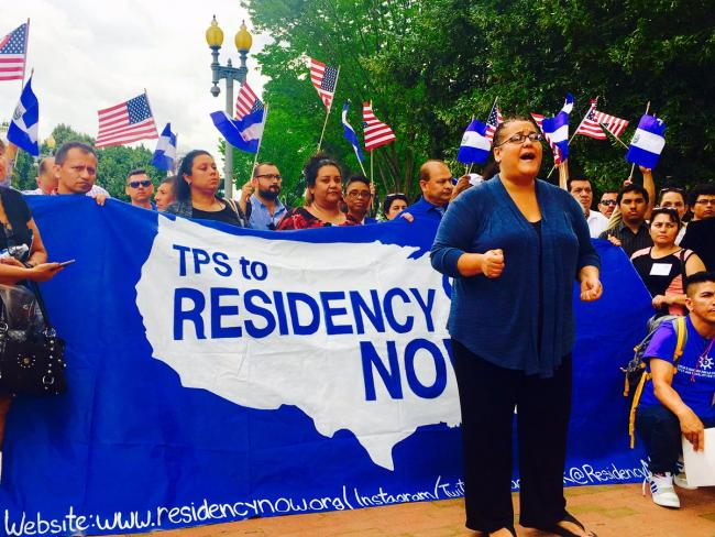 Activists with The Central American Refugee Center (CARACEN) demanding Legal Permanent Residency for Central American TPS beneficiaries. (National TPS Alliance)