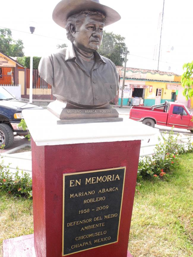 Bust in memory of Mariano in his hometown of Chicomuselo, Chiapas (Photo by Jennifer Moore)