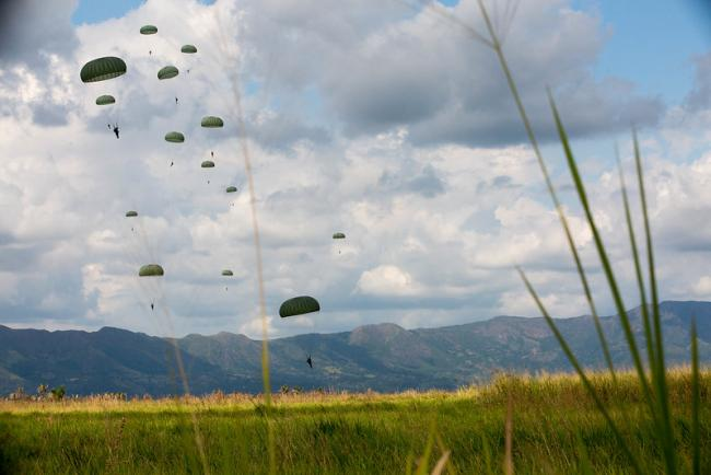 U.S. Army personnel from Fort Bragg, N.C, and U.S. Army South participate in an Airborne Assault exercise in January in Colombia (Photo: U.S. Army, Sgt. Andrea Salgado Rivera).
