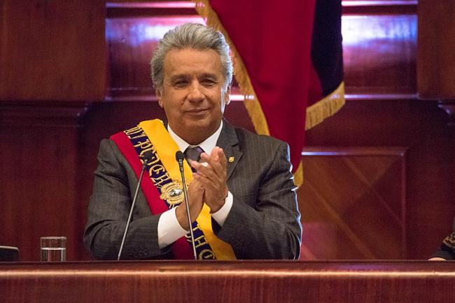 Lenín Moreno celebrating his first year in office at the National Assembly in Quito on May 24, 2018 (Agencia de Noticias ANDES/Wikimedia Commons).